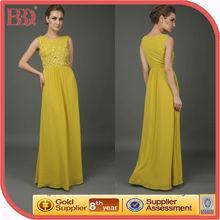 2014 new woman sleeveless floral appliqued elegant yellow chiffon long evening dresses