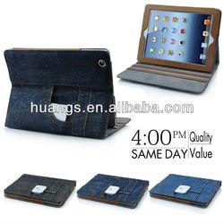 Fashionable Jean Design leather Case Cover For iPad Mini