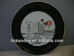 KC-00479/antique ceramic plates/black circle