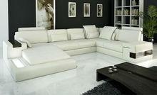 Latest Design Modern Sofa luxury large siz LIGHT L shaped Corner Genuine leather Sofa chinese antique furniture 9107-19