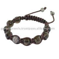 Silver Pave Diamond Macrame Bracelet, Gemstone Smoky Beads Shamballa Bracelet, Wholesale Supplier Fashion Macrame Bracelets