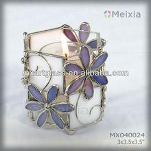 MX040024 china wholesale tiffany style candle holder stained glass decoration