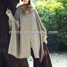 13STC5536 para mujer con capucha chaqueta de punto de lana ponchos capes