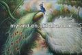 Caliente venta pavo real pintado a mano pintura al óleo en la lona