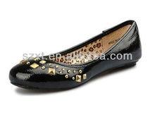 Ladies black PU flat shoes 2013 ladies wholesale China women flat shoes