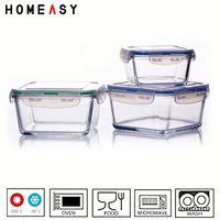 LFGB and FDA heat resistant heibei glass lock container
