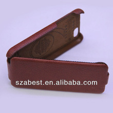Open up and down leather slip cover case for iphone5,litchi shin leather case for iphone5g
