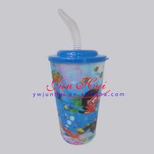 350ml(12 oz) (716#-p)plastic children 3d water cup 3D cute straw cup