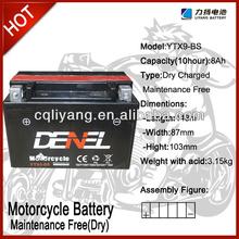 250cc racing -motorcycle parts qianjiang motorcycles / battery for motorcycle 12V 9AH (YTX9-BS)