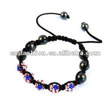 Fashion USA flag crystal shamblla beads amercian flag beads bracelet