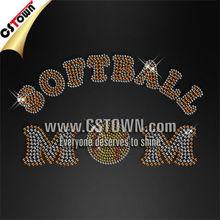 Custom hotfix crystal softball mom rhinestone motif