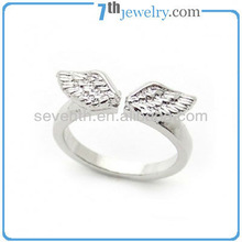 Plain Angels Wings Deisgn Rhodium Plated Girls Brass Ring With CZ Diamond