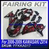 For 2006 2007 2008 2009 KAWASAKI ZX14 Fairings BLACK&RED FLAME