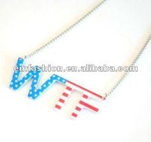 2012 Acrylic WTF letters acrylic pendant necklace USA flag print pendant necklace