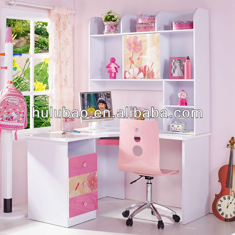 Lovely pink MDF muebles para niños escritorio de la computadora con