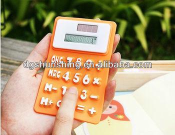 fashion mini silicone solar desktop calculator