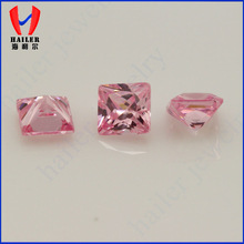 sqaure princess cut artifical gemstone polished pink zircon