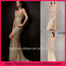 Gorgeous Swetheart Beaded Front Slit Champagne Chiffon 2013 New Model Evening Dress