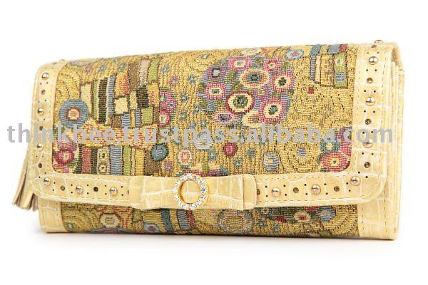 Esclusiva alto - qualità del tessuto dorato klimt portafoglio