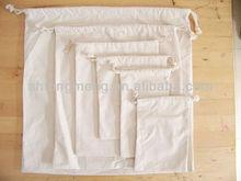 Calico Cotton Canvas Drawstring Reusable Pouch Bags