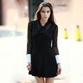 yigelila mulheres moda preto rendas mangas compridas vestido casual 6414