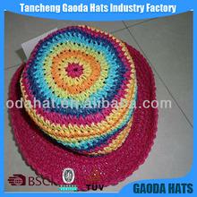 Popular Colorful Bright Paper Crochet Kids Caps