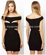 Sexy charming black mini ladies casual dress(S1043)
