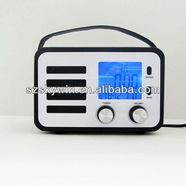 portable am fm radio alarm clock in pu case best buy buy portable am fm rad. Black Bedroom Furniture Sets. Home Design Ideas