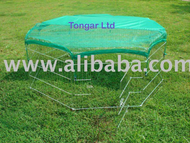 Metal Play Pen or Enclosure for Dog, Rabbit, Cat, Hen, Chicken, Duck, Ferret, with sun cover and net