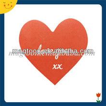 Custom red heart shape paper fridge magnet