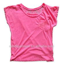 Ladies long sleeve cotton lace t shirt, 2015 new design fashion lace t-shirt