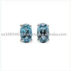 Delicate 0.57CTW Genuine London Blue Topaz .925 Sterling Silver Stud Earrings