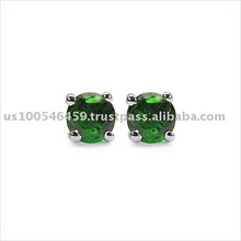 Spectacular 0.41CTW Genuine Chrome Diopside .925 Sterling Silver Stud Earrings