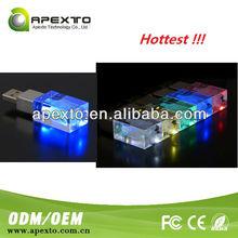 crystal USB flash drives oem engraved logo difference LED lighter free sample