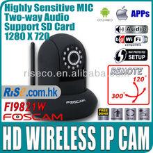 Wireless Wifi SD Card IR CUT Alarm Audio App 720p HD Foscam FI9821W IP Camera