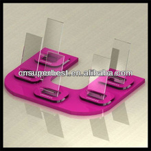 Pink Acrylic mobile phone holder for 5 units