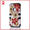 2013 New Custom Hawaiian Flowers Silicone Hybird Case Cover Design Combo Case for iphone 5