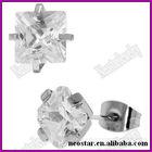 316l stainless steel cut cz stud earrings Fashion jewelry princess