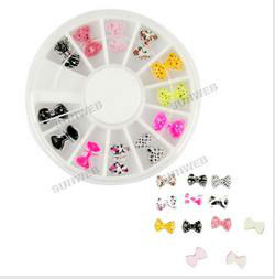 New Beauty 3D Resin Bowknot Stickers Beads DIY Nail Art Tip Decorations Wheel 11793