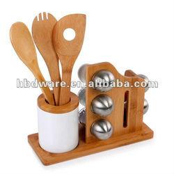 bamboo spoon &Modern Ceramic Spice Cruet set.wholesale!