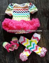 fashion baby girls chiffon/chevron dress bodysuit dress baby cotton romper with hot pink tutu swing top swing outfit