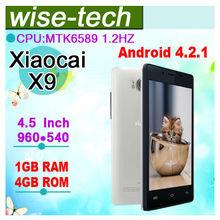 "Xiaocai X9 4.5"" 960*540 MTK6589 1.2GHz Quad core dual sim mobile phone WIFI 3G GPS"