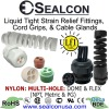 MULTI-HOLE Black & Gray Nylon: Strain Relief Fittings, Cord Grips, Cable Glands