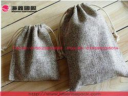 jute/flax jewelry bag/pouch drawstrings