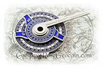 Nocturnal nautical time telling device for navigation - antique silver finish