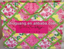 Floral Design Matt Lamination Cotton Rope Logo with Hot Foil Paper Shopping Bag