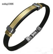 2014 China high quality fashion stainless steel silicone bracelet free bracelets mail OEM