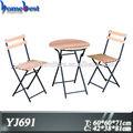dobrável de madeira mobiliário de jardim ferro moldura de mesa e cadeiras set