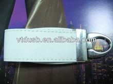 White leather USB flash drive, bulk USB memory sticks, leather USB 4GB disk