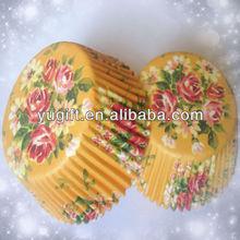 ใหม่ที่ขายส่งที่มีคุณภาพสูงสีเหลืองvintageroseดอกไม้ขนมหวานถ้วยคัพเค้กอบสมุทร